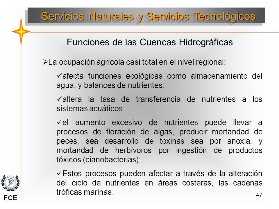 47 Servicios Naturales y Servicios Tecnológicos Funciones de las Cuencas Hidrográficas La ocupación agrícola casi total en el nivel regional: afecta f