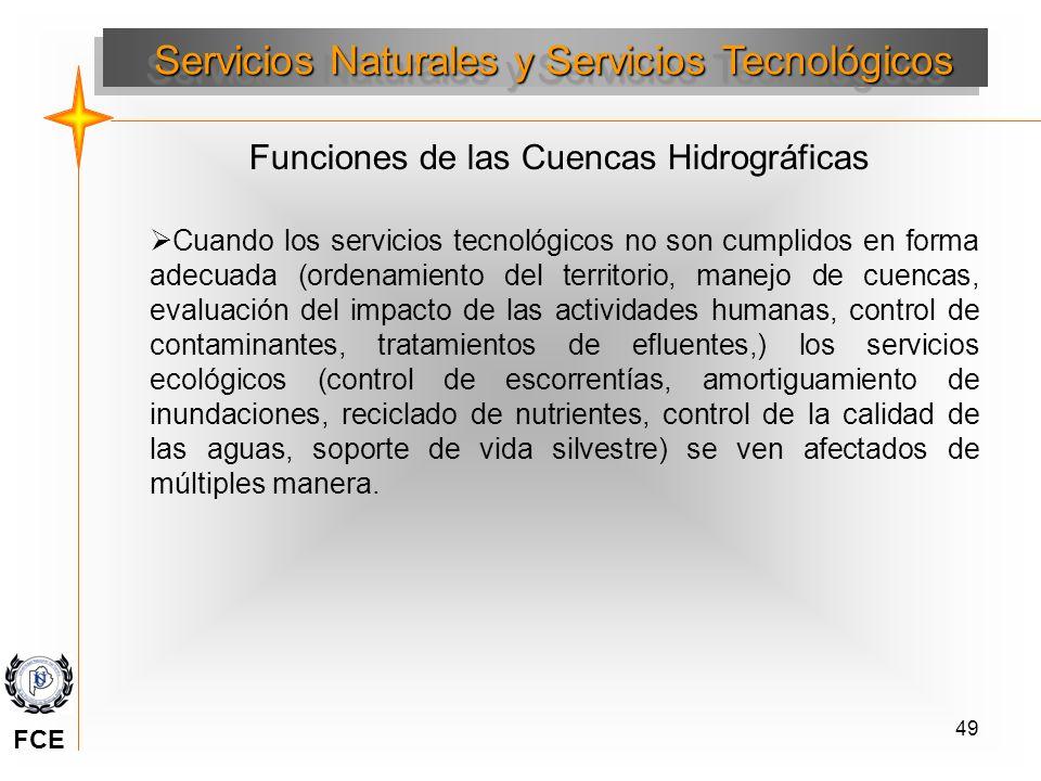 49 Servicios Naturales y Servicios Tecnológicos Cuando los servicios tecnológicos no son cumplidos en forma adecuada (ordenamiento del territorio, man
