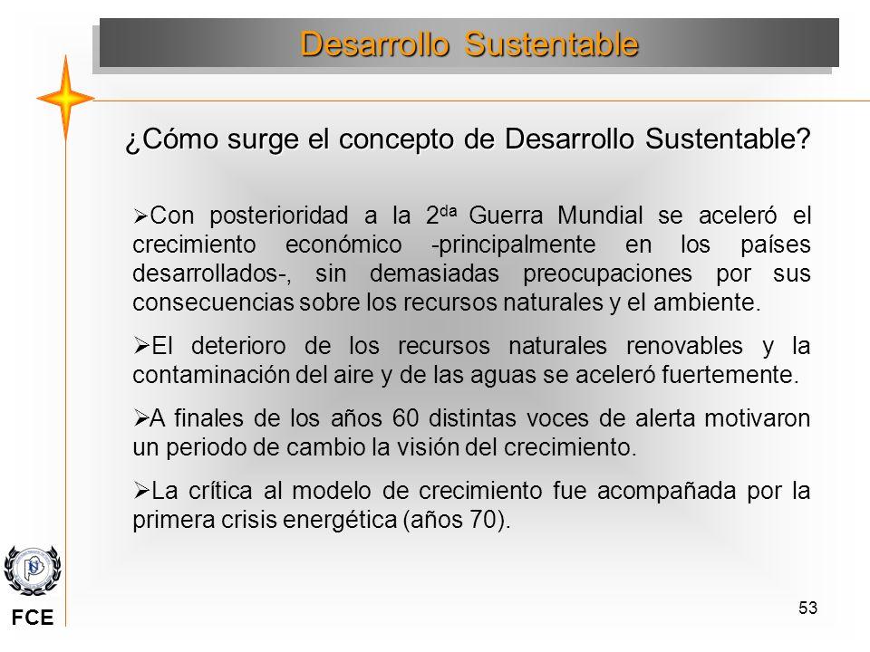 53 Desarrollo Sustentable ¿Cómo surge el concepto de Desarrollo Sustentable? Con posterioridad a la 2 da Guerra Mundial se aceleró el crecimiento econ