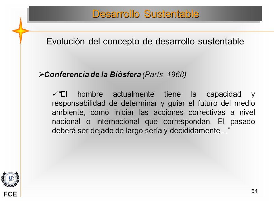 54 Conferencia de la Biósfera (París, 1968) El hombre actualmente tiene la capacidad y responsabilidad de determinar y guiar el futuro del medio ambie
