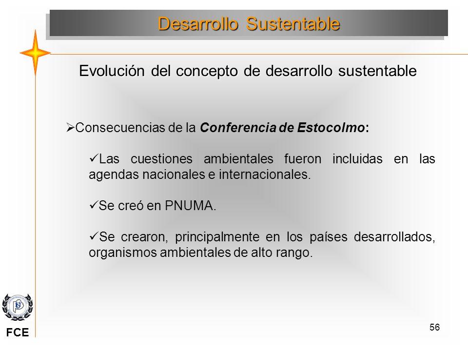 56 Consecuencias de la Conferencia de Estocolmo: Las cuestiones ambientales fueron incluidas en las agendas nacionales e internacionales. Se creó en P