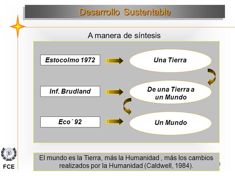 61 Desarrollo Sustentable A manera de síntesis Una Tierra Estocolmo 1972 Inf. Brudland De una Tierra a un Mundo Un Mundo Eco´ 92 El mundo es la Tierra