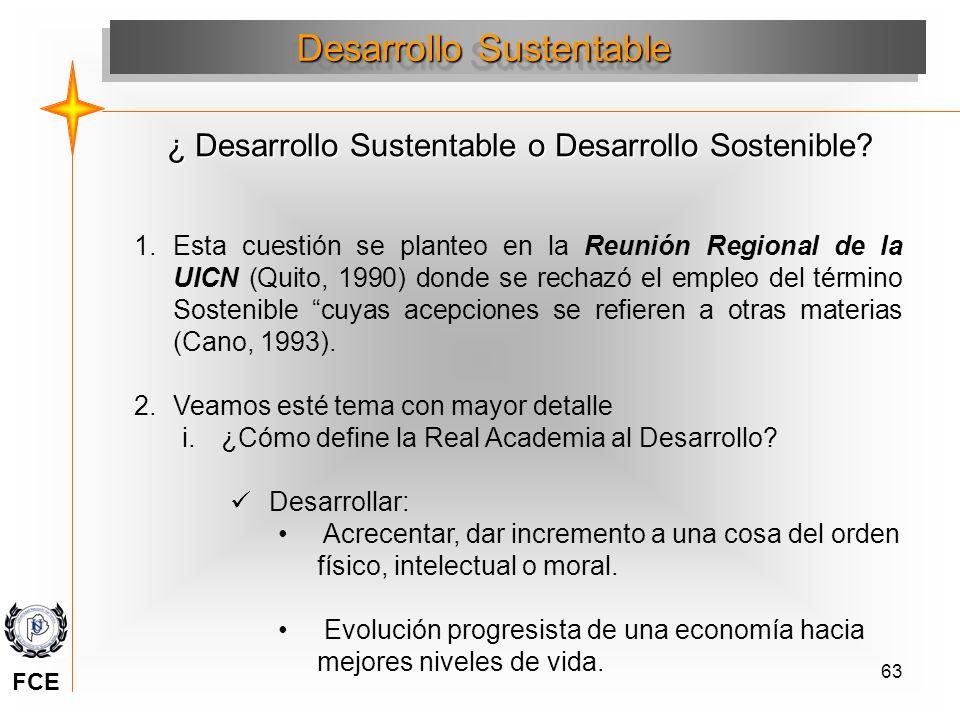 63 Desarrollo Sustentable 1.Esta cuestión se planteo en la Reunión Regional de la UICN (Quito, 1990) donde se rechazó el empleo del término Sostenible