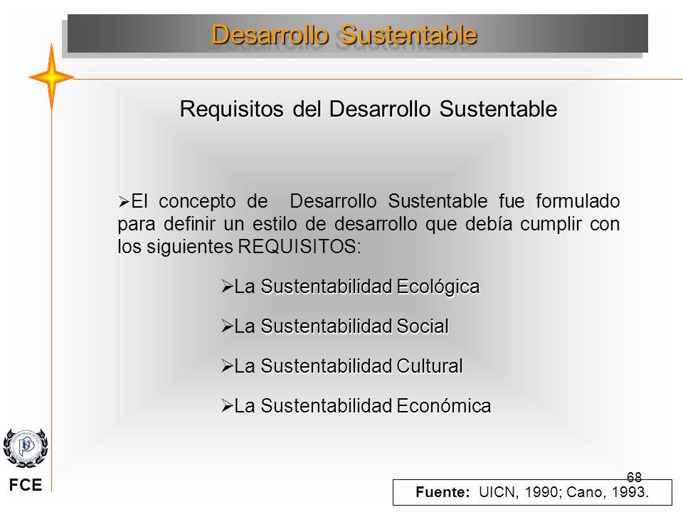 68 El concepto de Desarrollo Sustentable fue formulado para definir un estilo de desarrollo que debía cumplir con los siguientes REQUISITOS: Sustentab
