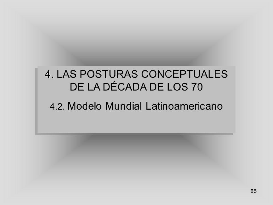 85 4. 4. LAS POSTURAS CONCEPTUALES DE LA DÉCADA DE LOS 70 4.2. Modelo Mundial Latinoamericano 4. 4. LAS POSTURAS CONCEPTUALES DE LA DÉCADA DE LOS 70 4