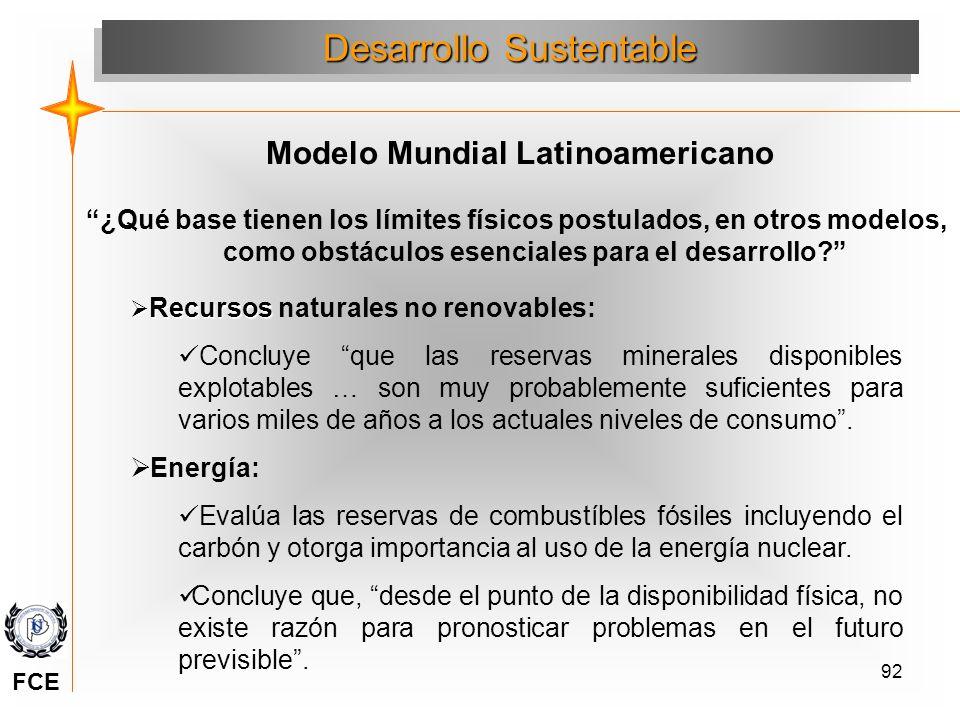 92 ¿Qué base tienen los límites físicos postulados, en otros modelos, como obstáculos esenciales para el desarrollo? Desarrollo Sustentable Modelo Mun