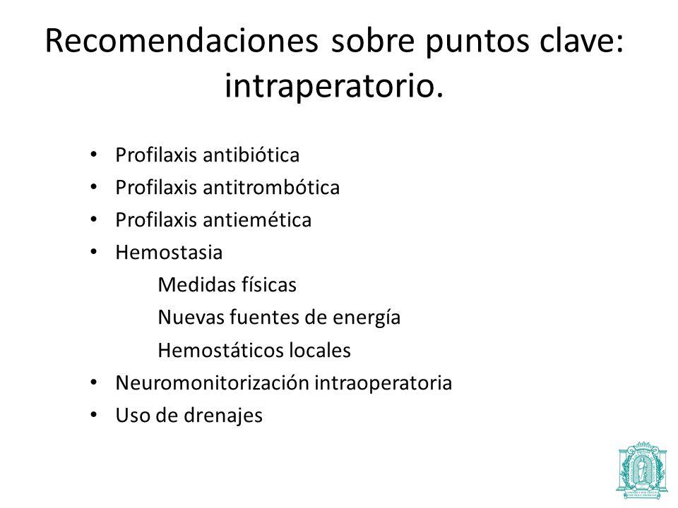 Profilaxis antibiótica Profilaxis antitrombótica Profilaxis antiemética Hemostasia Medidas físicas Nuevas fuentes de energía Hemostáticos locales Neuromonitorización intraoperatoria Uso de drenajes Recomendaciones sobre puntos clave: intraperatorio.