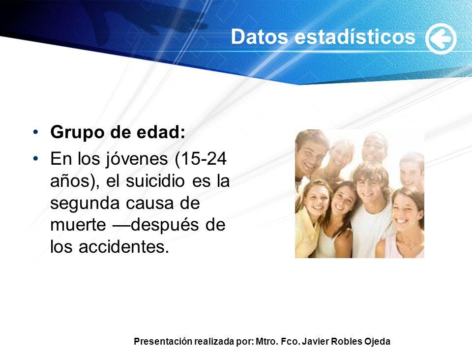 Presentación realizada por: Mtro. Fco. Javier Robles Ojeda Datos estadísticos Grupo de edad: En los jóvenes (15-24 años), el suicidio es la segunda ca