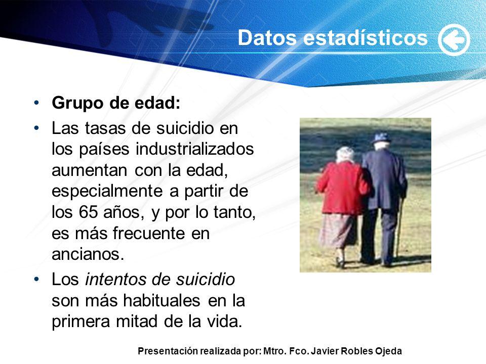 Presentación realizada por: Mtro. Fco. Javier Robles Ojeda Datos estadísticos Grupo de edad: Las tasas de suicidio en los países industrializados aume