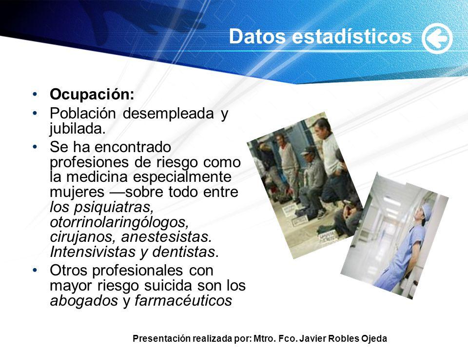 Presentación realizada por: Mtro. Fco. Javier Robles Ojeda Datos estadísticos Ocupación: Población desempleada y jubilada. Se ha encontrado profesione