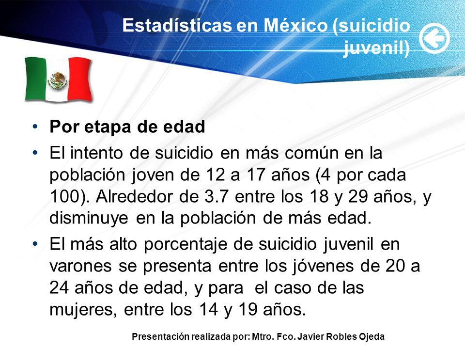 Presentación realizada por: Mtro. Fco. Javier Robles Ojeda Estadísticas en México (suicidio juvenil) Por etapa de edad El intento de suicidio en más c