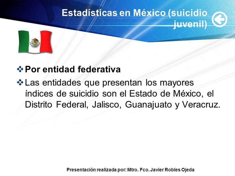Presentación realizada por: Mtro. Fco. Javier Robles Ojeda Estadísticas en México (suicidio juvenil) Por entidad federativa Las entidades que presenta