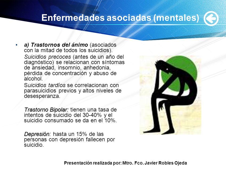 Presentación realizada por: Mtro. Fco. Javier Robles Ojeda Enfermedades asociadas (mentales) a) Trastornos del ánimo (asociados con la mitad de todos