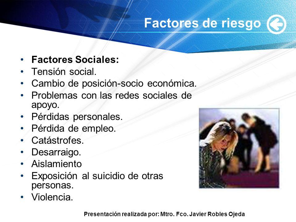 Presentación realizada por: Mtro. Fco. Javier Robles Ojeda Factores de riesgo Factores Sociales: Tensión social. Cambio de posición-socio económica. P