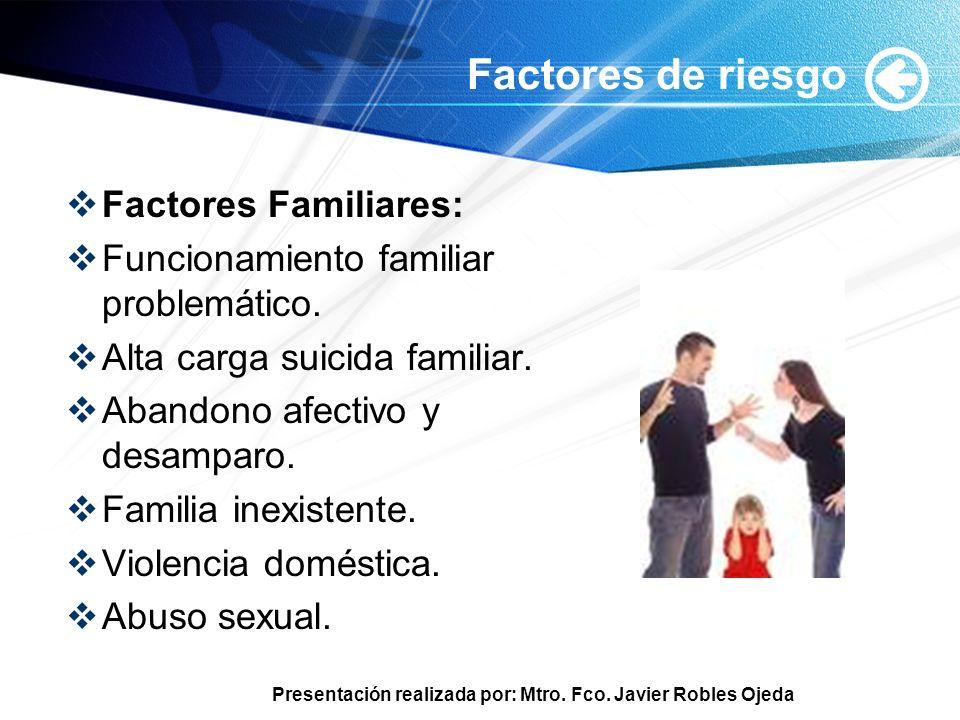 Presentación realizada por: Mtro. Fco. Javier Robles Ojeda Factores de riesgo Factores Familiares: Funcionamiento familiar problemático. Alta carga su