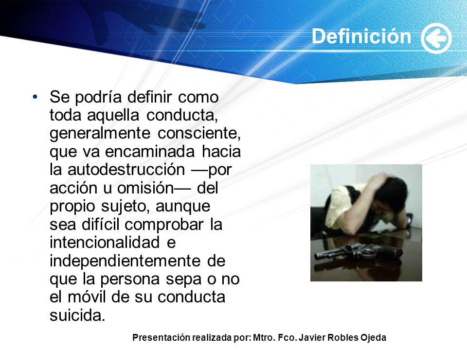 Presentación realizada por: Mtro. Fco. Javier Robles Ojeda Definición Se podría definir como toda aquella conducta, generalmente consciente, que va en