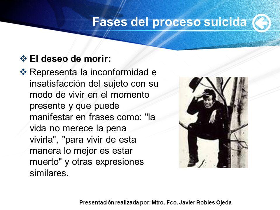 Presentación realizada por: Mtro. Fco. Javier Robles Ojeda Fases del proceso suicida El deseo de morir: Representa la inconformidad e insatisfacción d