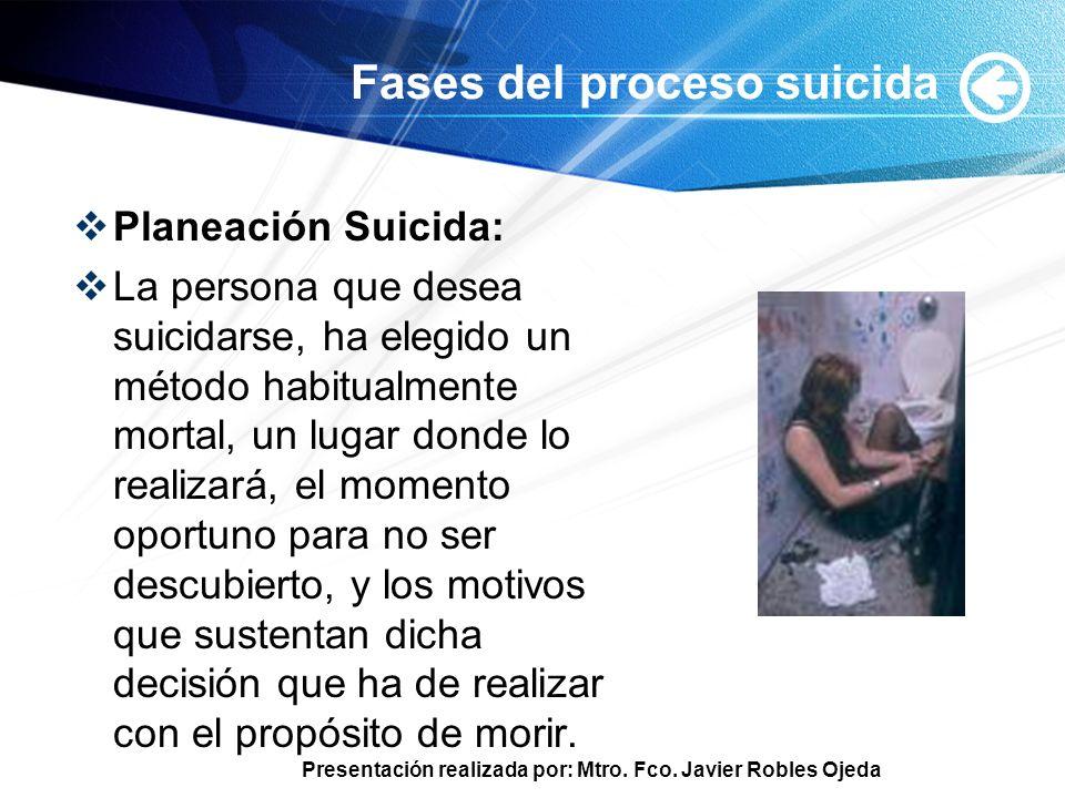 Presentación realizada por: Mtro. Fco. Javier Robles Ojeda Fases del proceso suicida Planeación Suicida: La persona que desea suicidarse, ha elegido u