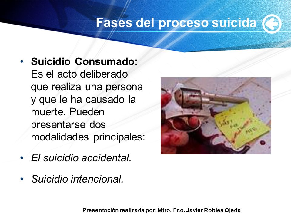 Presentación realizada por: Mtro. Fco. Javier Robles Ojeda Fases del proceso suicida Suicidio Consumado: Es el acto deliberado que realiza una persona