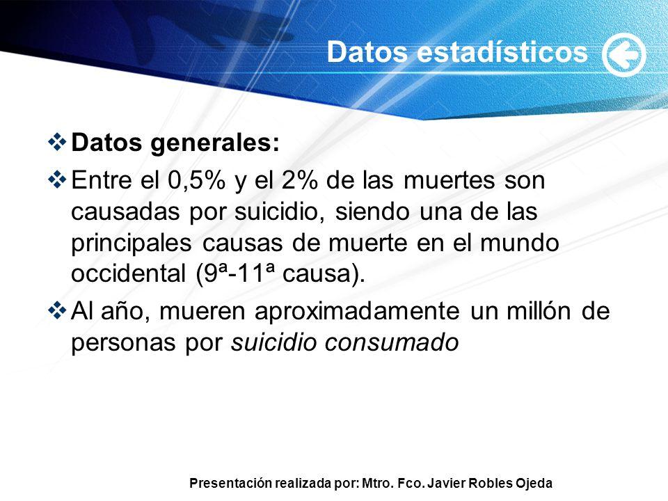 Presentación realizada por: Mtro. Fco. Javier Robles Ojeda Datos estadísticos Datos generales: Entre el 0,5% y el 2% de las muertes son causadas por s