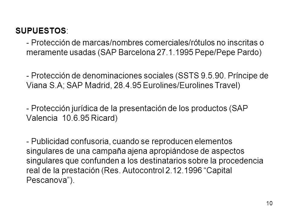 10 SUPUESTOS: - Protección de marcas/nombres comerciales/rótulos no inscritas o meramente usadas (SAP Barcelona 27.1.1995 Pepe/Pepe Pardo) - Protecció