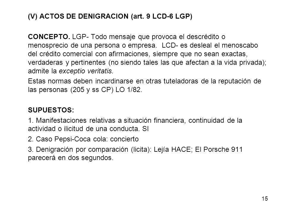 15 (V) ACTOS DE DENIGRACION (art. 9 LCD-6 LGP) CONCEPTO. LGP- Todo mensaje que provoca el descrédito o menosprecio de una persona o empresa. LCD- es d