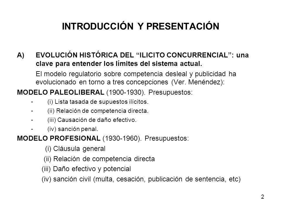 2 INTRODUCCIÓN Y PRESENTACIÓN A)EVOLUCIÓN HISTÓRICA DEL ILICITO CONCURRENCIAL: una clave para entender los límites del sistema actual. El modelo regul