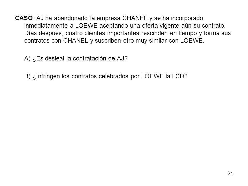 21 CASO: AJ ha abandonado la empresa CHANEL y se ha incorporado inmediatamente a LOEWE aceptando una oferta vigente aún su contrato. Días después, cua