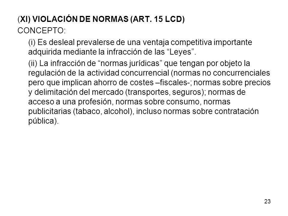 23 (XI) VIOLACIÓN DE NORMAS (ART. 15 LCD) CONCEPTO: (i) Es desleal prevalerse de una ventaja competitiva importante adquirida mediante la infracción d