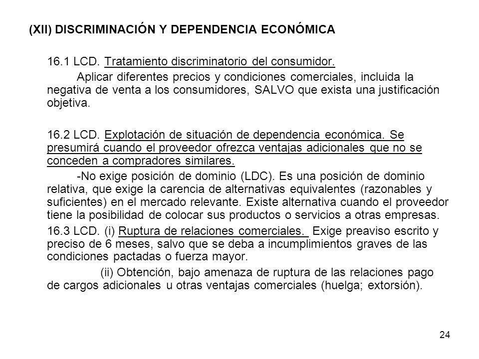 24 (XII) DISCRIMINACIÓN Y DEPENDENCIA ECONÓMICA 16.1 LCD. Tratamiento discriminatorio del consumidor. Aplicar diferentes precios y condiciones comerci