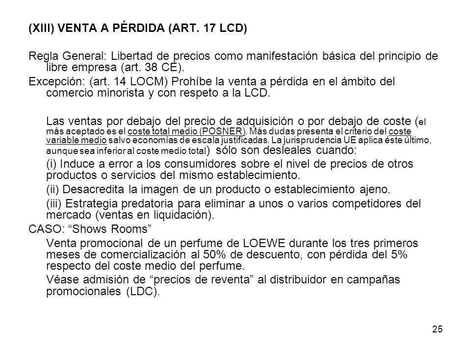 25 (XIII) VENTA A PÉRDIDA (ART. 17 LCD) Regla General: Libertad de precios como manifestación básica del principio de libre empresa (art. 38 CE). Exce