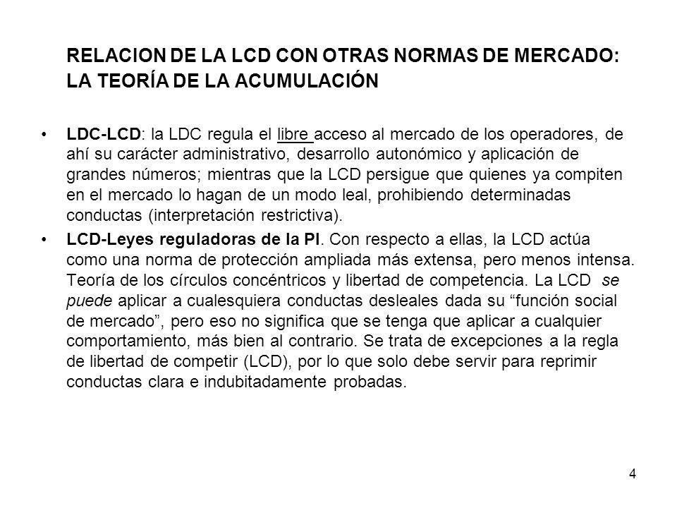 4 RELACION DE LA LCD CON OTRAS NORMAS DE MERCADO: LA TEORÍA DE LA ACUMULACIÓN LDC-LCD: la LDC regula el libre acceso al mercado de los operadores, de