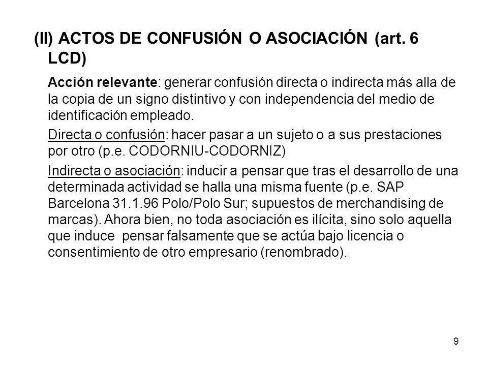 9 (II) ACTOS DE CONFUSIÓN O ASOCIACIÓN (art. 6 LCD) Acción relevante: generar confusión directa o indirecta más alla de la copia de un signo distintiv