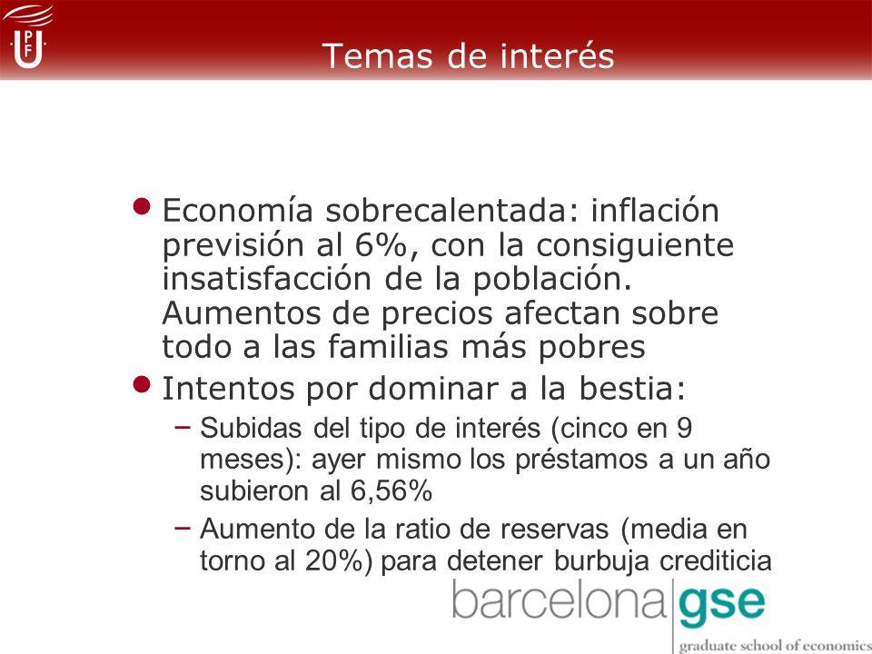 Temas de interés Economía sobrecalentada: inflación previsión al 6%, con la consiguiente insatisfacción de la población.