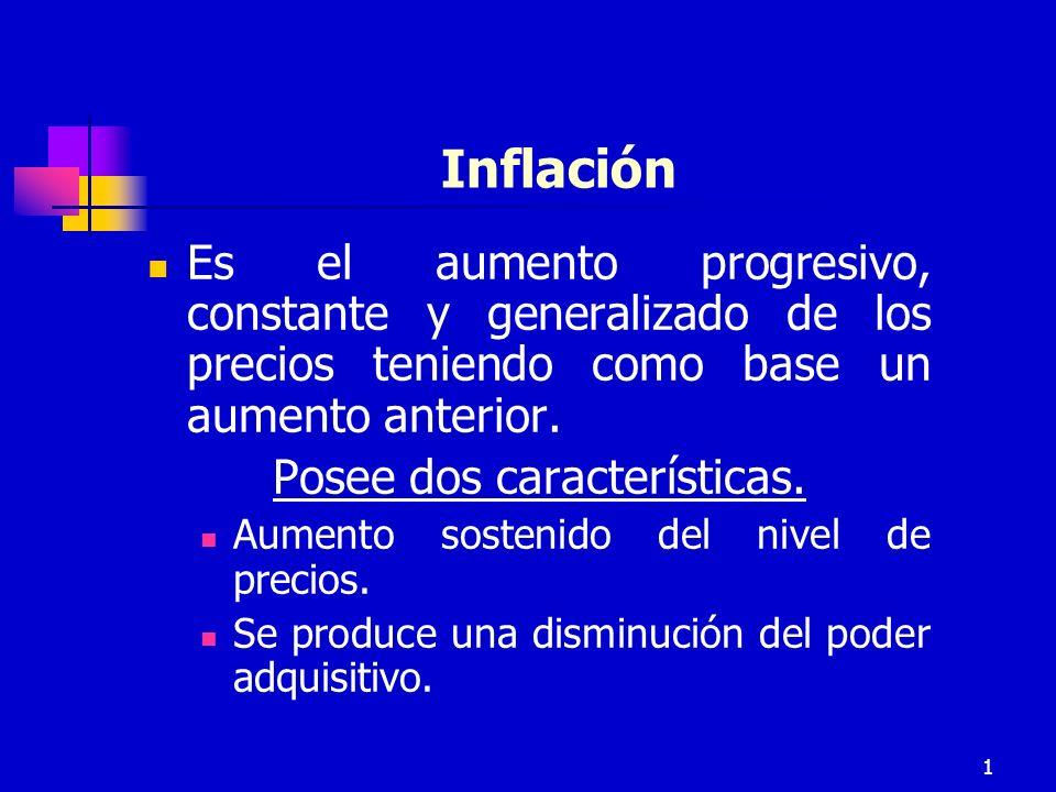 1 Inflación Es el aumento progresivo, constante y generalizado de los precios teniendo como base un aumento anterior.