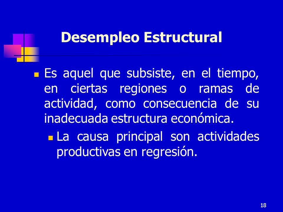 18 Desempleo Estructural Es aquel que subsiste, en el tiempo, en ciertas regiones o ramas de actividad, como consecuencia de su inadecuada estructura económica.