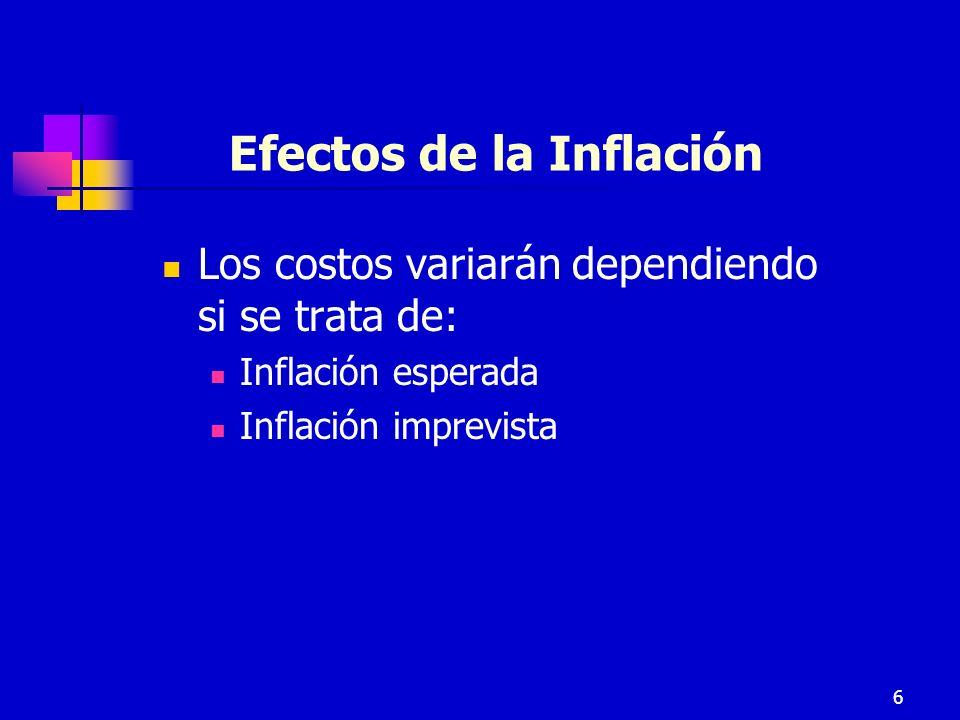 6 Efectos de la Inflación Los costos variarán dependiendo si se trata de: Inflación esperada Inflación imprevista