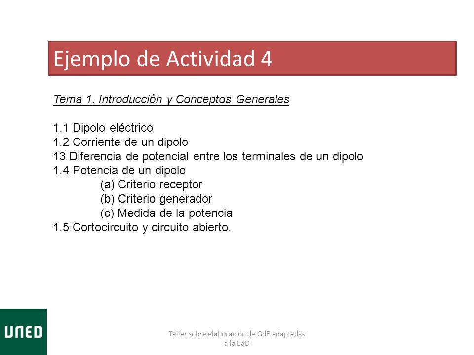 Taller sobre elaboración de GdE adaptadas a la EaD Ejemplo de Actividad 4 Tema 1. Introducción y Conceptos Generales 1.1 Dipolo eléctrico 1.2 Corrient