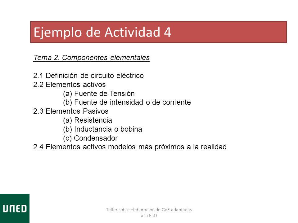 Taller sobre elaboración de GdE adaptadas a la EaD Ejemplo de Actividad 4 Tema 2. Componentes elementales 2.1 Definición de circuito eléctrico 2.2 Ele