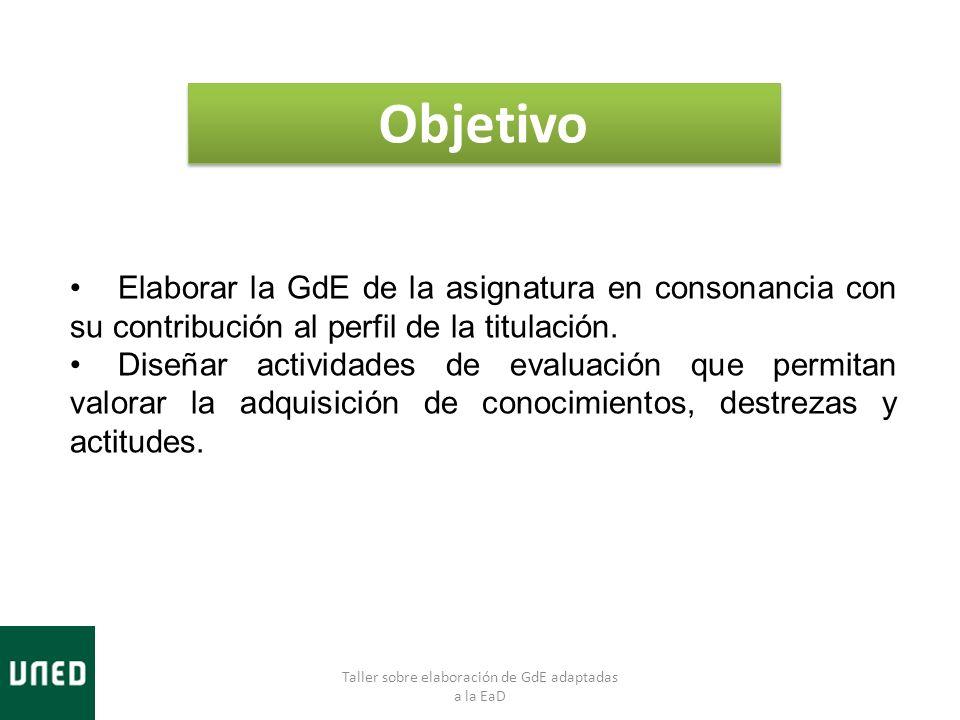 Objetivo Elaborar la GdE de la asignatura en consonancia con su contribución al perfil de la titulación. Diseñar actividades de evaluación que permita