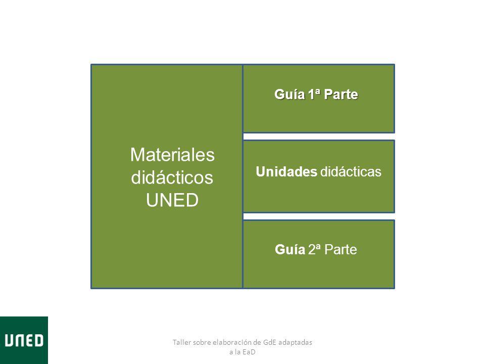 Taller sobre elaboración de GdE adaptadas a la EaD Materiales didácticos UNED Guía 1ª Parte Unidades didácticas Guía 2ª Parte