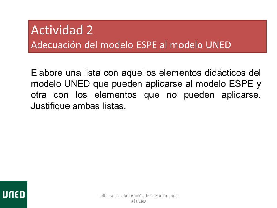 Taller sobre elaboración de GdE adaptadas a la EaD Actividad 2 Adecuación del modelo ESPE al modelo UNED Elabore una lista con aquellos elementos didácticos del modelo UNED que pueden aplicarse al modelo ESPE y otra con los elementos que no pueden aplicarse.