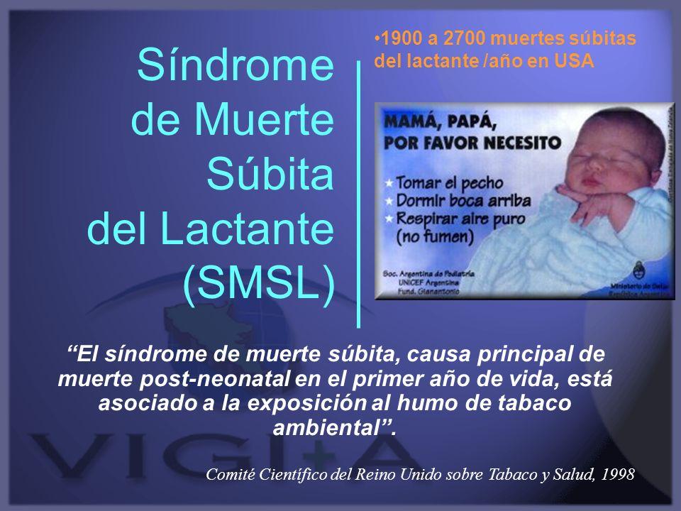 Síndrome de Muerte Súbita del Lactante (SMSL) El síndrome de muerte súbita, causa principal de muerte post-neonatal en el primer año de vida, está aso