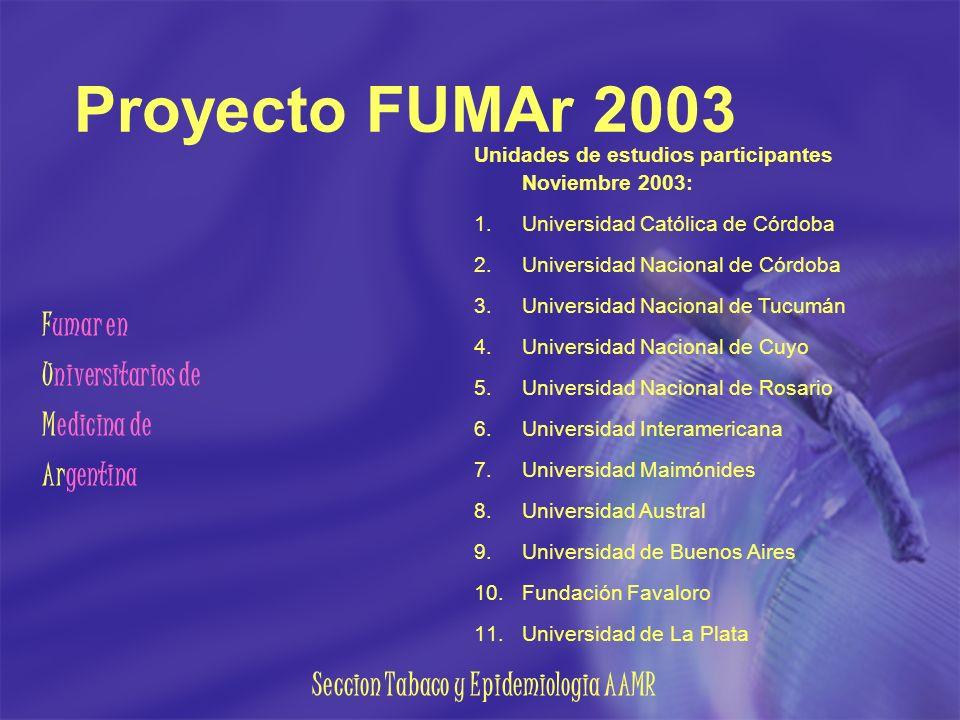 Seccion Tabaco y Epidemiologia AAMR Proyecto FUMAr 2003 Fumar en Universitarios de Medicina de Argentina Unidades de estudios participantes Noviembre