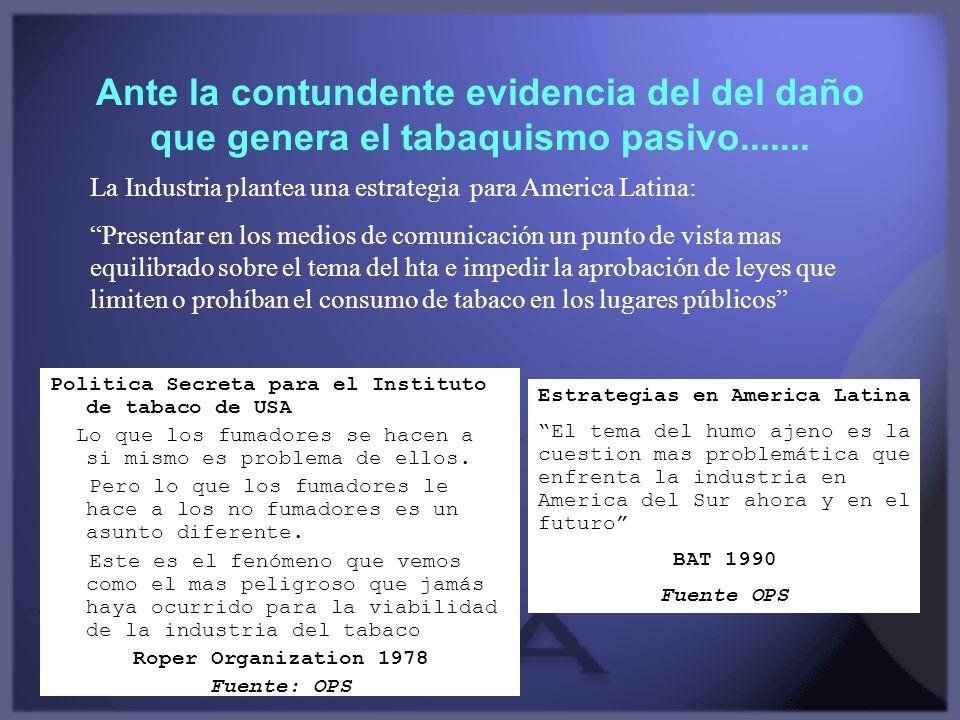 Ante la contundente evidencia del del daño que genera el tabaquismo pasivo....... Politica Secreta para el Instituto de tabaco de USA Lo que los fumad