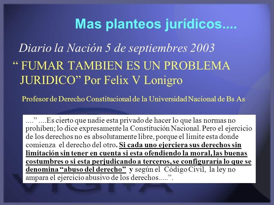 Diario la Nación 5 de septiembres 2003 FUMAR TAMBIEN ES UN PROBLEMA JURIDICO Por Felix V Lonigro Profesor de Derecho Constitucional de la Universidad