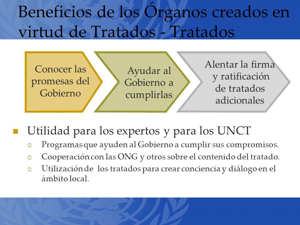 Beneficios de los Órganos creados en virtud de Tratados - Tratados Utilidad para los expertos y para los UNCT Programas que ayuden al Gobierno a cumplir sus compromisos.