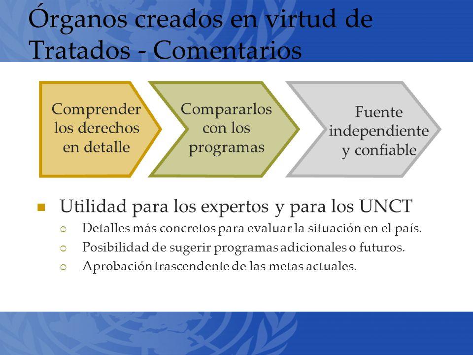 Órganos creados en virtud de Tratados - Comentarios Utilidad para los expertos y para los UNCT Detalles más concretos para evaluar la situación en el país.