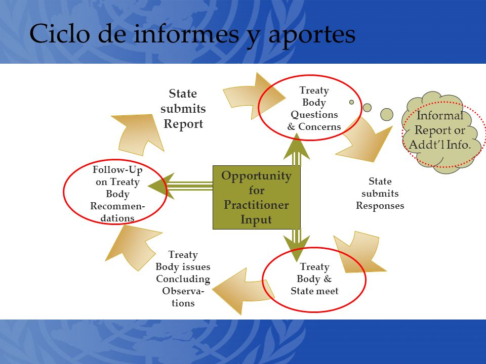 Ciclo de informes y aportes Treaty Body Questions& Concerns State submits Responses Treaty Body & State meet Treaty Body issues Concluding Observa-tions Follow-Up on Treaty Body Recommen- dations State submits Report Opportunity for Practitioner Input Informal Report or Addtl Info.
