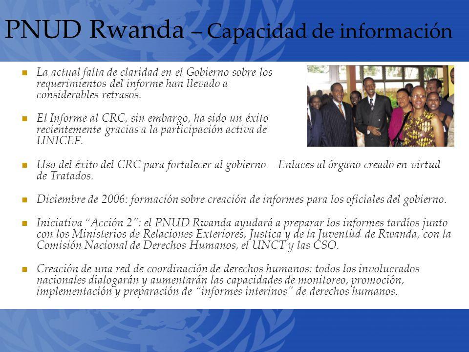 PNUD Rwanda – Capacidad de información La actual falta de claridad en el Gobierno sobre los requerimientos del informe han llevado a considerables retrasos.